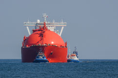 LNG TANKER IN THE POMERANIAN BAY. LNG Tanker at sea flows from the gas supply to the port of Swinoujscie Stock Photo