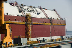 LNG tanker in shipyard Stock Photos