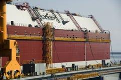 LNG tanker in shipyard Stock Photos