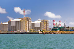 LNG Tanks. At the Port of Barcelona Stock Image