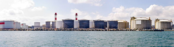 LNG Tanks Panorama Stock Images