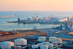 LNG Tanks at the Port of Barcelona. At Sunset Stock Photo