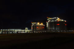 LNG terminal in Swinoujscie at night Stock Photo