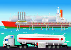 LNG terminal, with tanker and truck. Vector illustration Stock Photo