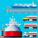 LNG terminal, tankers and trucks. Vector illustration Royalty Free Stock Image