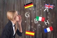Língua estrangeira. Conceito - aprendendo, falando, Fotos de Stock
