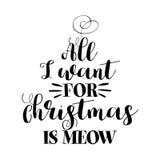 Lo único que quiero para la Navidad es la voz del maullido - frase para la Navidad ilustración del vector