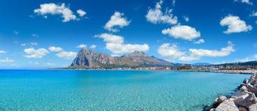 圣维托lo品柱海滩,西西里岛,意大利 库存照片