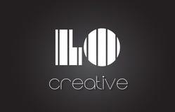 LO L lettre Logo Design With White d'O et lignes noires Photo libre de droits