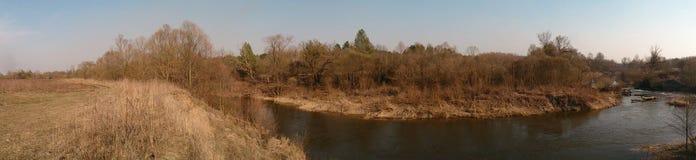 A lo largo de abedules estrechos, el río Foto de archivo