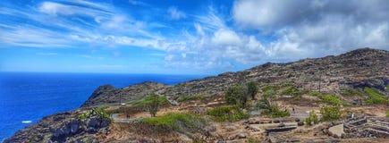 A lo largo del Makapu' rastro del faro de u en Oahu, Hawaii imagen de archivo libre de regalías