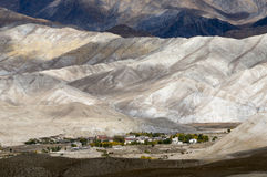 Lo Mantang village in its majesty, capital of Mustang. Capital of Mustang in its green desert mountains background in the fall. Tibetan Nepal Himalaya Royalty Free Stock Photography