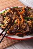 Lo mein中国面条用牛肉和muer宏指令 垂直 免版税库存照片