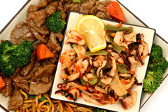 Lo Mein, Beef, Squid, Seaweed Royalty Free Stock Photography