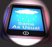 Lo mismo como de costumbre en el teléfono no exhibe ningún cambio en el tiempo stock de ilustración