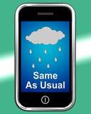 Lo mismo como de costumbre en el teléfono no significa ningún cambio en el tiempo libre illustration