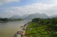 Lo river. Morning on the Lo river, TuyenQuang, VietNam stock image