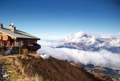Lo sbarco di Mont-Blanc, alpi francesi Immagine Stock