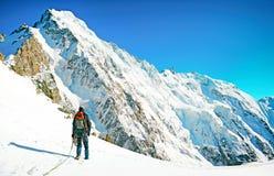 Lo scalatore raggiunge la sommità del picco di montagna Scalata e mounta Immagini Stock