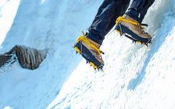 Lo scalatore raggiunge la sommità del picco di montagna Successo, libertà e felicità, risultato in montagne Concetto rampicante d Fotografia Stock