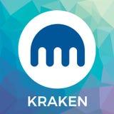 Lo scambio del bitcoin di cryptocurrency di Kraken e la valuta del blockchain vector il logo Fotografie Stock