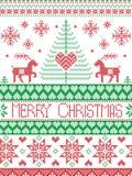 Lo scandinavo alto di Buon Natale ha stampato lo stile del tessuto ed ha ispirato dal Natale norvegese e dal modello senza cucitu Fotografia Stock