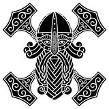 Lo scandinavo antico Dio Thor ed il martello Mjolnir royalty illustrazione gratis