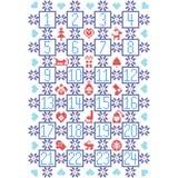 Lo scandinavo blu-chiaro e rosso di buio, ha ispirato dal calendario nordico con gli elementi decorativi quali i fiocchi di neve, Fotografia Stock Libera da Diritti