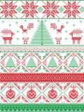 Lo scandinavo ha ispirato dal Natale norvegese e dal modello senza cuciture dell'inverno festivo in punto trasversale con gli alb Immagine Stock Libera da Diritti