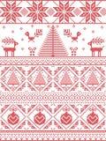 Lo scandinavo ha stampato il tessuto con gli alberi di natale, fiocchi di neve, renna, Robin Bird, cuore, bagattella di Natale Immagini Stock