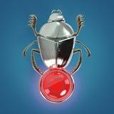 Lo scarabeo egiziano antico molto lucido con il globo della gemma isolato rende Fotografia Stock