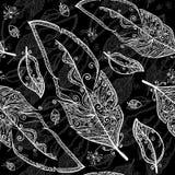 Lo scarabocchio in bianco e nero mette le piume al modello senza cuciture Fotografie Stock Libere da Diritti