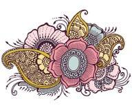 Lo scarabocchio fiorisce floreale Fotografia Stock Libera da Diritti