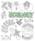 Lo scarabocchio ha messo con i disegni, le icone ed i simboli di eco Fotografia Stock