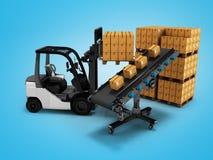 Lo scarico moderno delle merci dal carrello elevatore in scatole di carta 3d rende su fondo blu con ombra illustrazione di stock