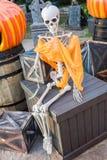 Lo scheletro si siede alla scatola ed aspetta Immagini Stock