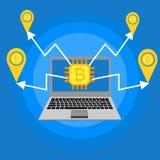 Lo schema di Blockhain, la valuta cripto estraente, stanza del server, ha alimentato i computer, l'elaborazione dei dati, transaz illustrazione vettoriale
