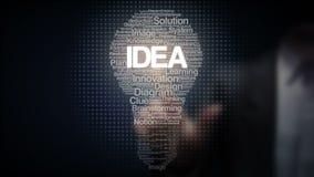 Lo schermo commovente dell'uomo d'affari ed i numerosi testi fa la luce di lampadina, mostrante il testo 'IDEA'