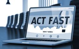 Lo schermo del computer portatile con la Legge digiuna concetto 3d Fotografia Stock Libera da Diritti