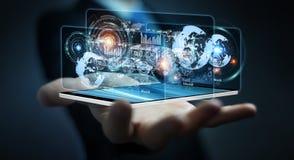 Lo schermo dell'ologramma con i dati digitali usati dall'uomo d'affari 3D rende Fotografia Stock