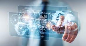 Lo schermo dell'ologramma con i dati digitali usati dall'uomo d'affari 3D rende Fotografie Stock Libere da Diritti