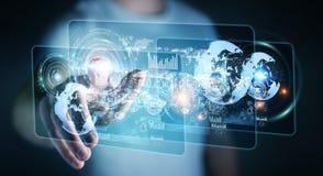 Lo schermo dell'ologramma con i dati digitali usati dall'uomo d'affari 3D rende Immagine Stock Libera da Diritti
