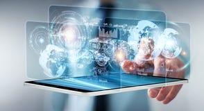 Lo schermo dell'ologramma con i dati digitali usati dall'uomo d'affari 3D rende Fotografie Stock