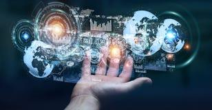 Lo schermo dell'ologramma con i dati digitali usati dall'uomo d'affari 3D rende Fotografia Stock Libera da Diritti