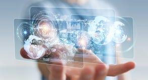 Lo schermo dell'ologramma con i dati digitali usati dall'uomo d'affari 3D rende Immagine Stock
