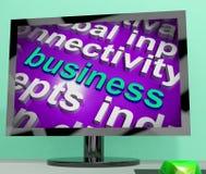 Lo schermo della nuvola di parola di affari mostra il commercio o l'affare dell'annuncio pubblicitario Immagini Stock Libere da Diritti