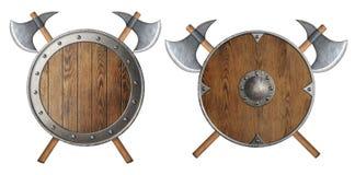 Lo schermo di legno rotondo e due del cavaliere hanno attraversato la battaglia Fotografie Stock Libere da Diritti