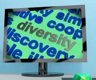 Lo schermo di parola di diversità significa le differenze culturali ed etniche Fotografie Stock Libere da Diritti