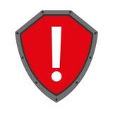 lo schermo di sicurezza con il simbolo attento ha isolato la progettazione dell'icona Immagini Stock