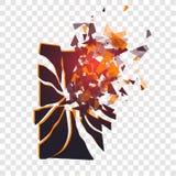 Lo schermo incrinato del telefono si rompe nei pezzi Lo smartphone rotto ha spaccato dall'esplosione su fondo trasparente Esposiz Fotografie Stock Libere da Diritti